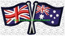 AUSTRALIA BRITAIN CROSSED FLAGS BIKER PATCH 100 X 55MM