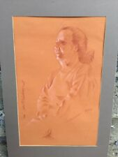 Original Pastel Portrait Older Woman Signed