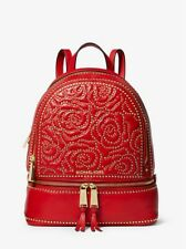 Michael Kors Rhea Zip Studded Roses Medium Red Gold Book Backpack 30H8GEZB20