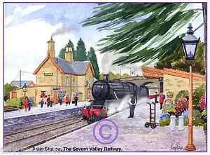 "ARLEY SEVERN VALLEY RAILWAY STEAM LOCO WATERCOLOUR ARTISTS PRINT ART CARD 8""x 6"""