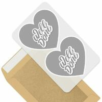 2 x Heart Stickers 10 cm - BW - Well Done Congratulations Fun Cool  #42157