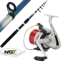 NGT 10FT TELESCOPIC SEA FISHING TRAVEL ROD + REEL BEACHCASTER + SEA FISHING REEL