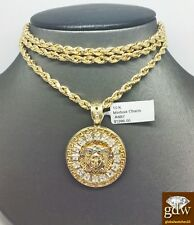 Real 10k Gold Chain Necklace 26 inch Rope & 10k Pendant Medusa Head Charm 10k