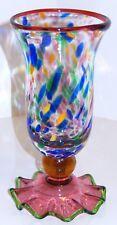 Hand Blown Glass Vase Applied Glass Ruffled Base Multi Color Confetti