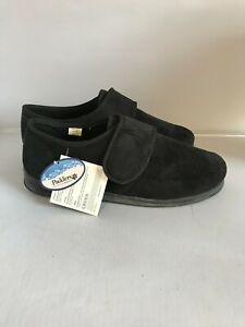 New Padders Hook & Loop Memory Foam Slippers Mens Size 10 Black Textile 301835