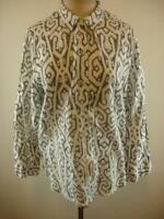 Womens M J. Jill Love 100% Linen Long Sleeve Blouse Top Shirt Black White Print
