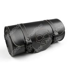 PU Leather Round Fork Mount Studs Bag Universal Motorcycle Skull Tool Bag Black