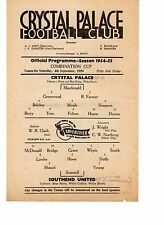 Crystal Palace v Southend United Reserves Programme 4.9.1954 Combination Cup