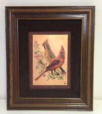 "Enameled Copper Art Cardinals Birds SIGNED Framed RARE 13"" X 11"""