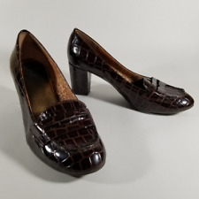"Anne Klein Brown Patent Crocodile Print Loafer Pumps | Women's 9M | 2.5"" Heels"