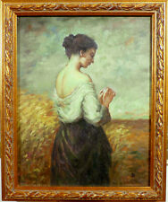 MONOGRAM SIGNED! PORTRAIT OF A WOMAN IN THE CORNFIELD. NO RESERVE