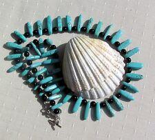 "Crystal Gemstone Statement Necklace, Turquoise Magnesite & Black Onyx ""Lagoon"""