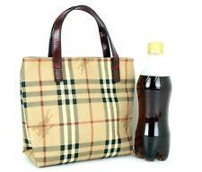 Authentic BURBERRY London Nova Check Beige PVC Leather Mini Tote Hand Bag Purse