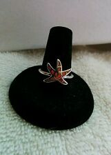 Star fish ring Size 8 Orange Fire Opal 14 kt. White  Gold filled New