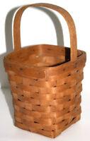 "Longaberger Handwoven Basket Medium Peg Natural Wood 6"" x 5.5"" Handle 4"" 1994"