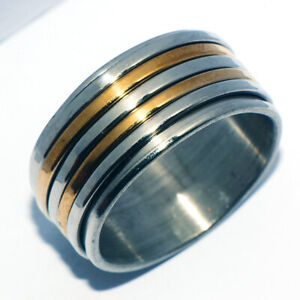 Wide Big Mens Stainless Steel Rings Spinner 2-Tone Rings Band Ring Size 10