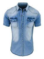 Camicia di Jeans uomo celeste denim manica corta slim fit aderente S M L XL XXL