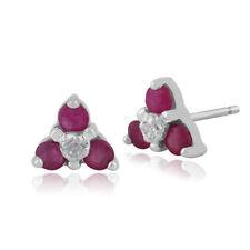 Diamond White Gold Natural Ruby Fine Earrings