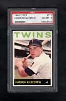 1964 TOPPS #177 HARMON KILLEBREW TWINS PSA 8 NM/MT++ SHARP CARD!