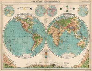 WORLD TWIN HEMISPHERES. Relief map. Mountains eclipses snowline seasons 1912