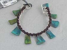 Robert Lee Morris SOHO Silver Plated Brown Leather Patina Drop Toggle Bracelet
