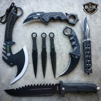 8 PC BLACK Tactical Zombie Axe Fixed Blade Hunting Knife Karambit Throwing Set