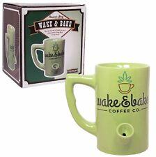Coffee Tea Mug Bong Cup Built in Pipe Smoke Green Smoking Wake & Bake