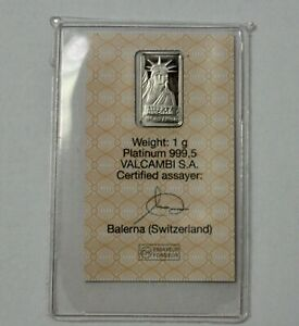 NEW 1 g Credit Suisse Statue Liberty PLATINUM BAR  In Certified Assayer Valcambi