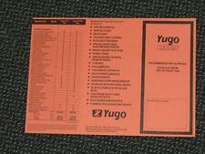 October 1984 ZASTAVA Yugo UK PRICE LIST BROCHURE 311 411 413 511 513 45 55 VAN