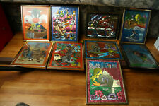 Vintage Looney Tunes Magic Effects Framed Picture Lot Taz Manifestations Decor