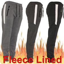Mens Track Jogger Draw String Heavy Fleece Sweat Pants Sports, Zipper Pockets