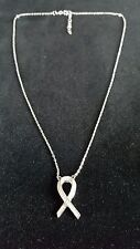 """925 Sterling Silver CZ """"Pink Ribbon"""" Necklace Ladies Womens fashion"""