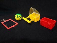 Lot of 4 Vintage Lustar Bird Cage Seed Feeder Nos Parakeet Toy Accessories
