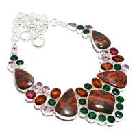 Tabu Jasper Gemstone 925 Sterling Silver Necklace Jewelry 9-18 7021