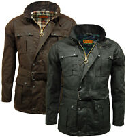 Mens Game Continental Belted Biker Wax Motorcycle Jacket