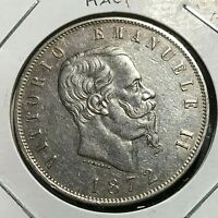 1872-M ITALY SILVER  5 LIRE HIGHER GRADE CROWN COIN