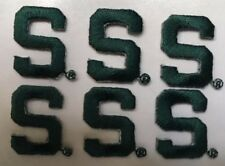 "Michigan State University Spartans Iron-On ""S"" patch  7/8"" tall (6 pc. lot)"