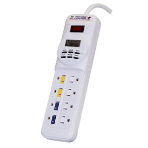 "CORALIFE 100105152 White DIGITAL POWER CENTER DAY NIGHT TIMER WHITE 10.75"" X ..."