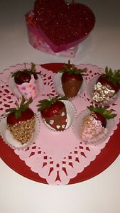 Fake Dipped Strawberries CHOCOLATE Dipped-   Variety Set of 6 Prop Decoration