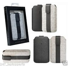 Genuine Hugo Boss ALNESS L Cow Leather Universal Pouch Sleeve Case Cover Grey
