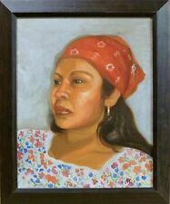 Mexican Woman by Robie Troestler Original 16X20 Art Oil Portrait Painting Framed