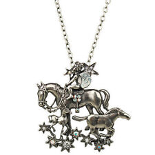NEW KIRKS FOLLY ANGEL HORSE STARDUST PIN PENDANT NECKLACE SILVERTONE