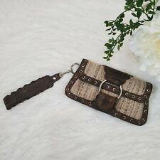 Treesje Clutch Brown Leather & Tweed Wristlet