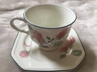 Mikasa Silk Flowers Cup & Saucer 3003 Collectible Made in Japan