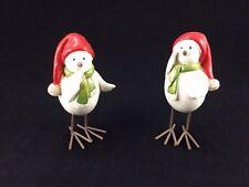 "Pair of 2 Christmas Snow Bird/Chicken Figurines Wire Legs/Feet - 4 1/4"" Inch"