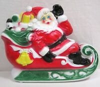 Vintage Empire Plastic Blow Mold Santa on Sled Dated 1970