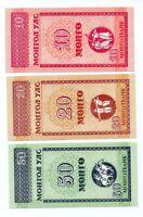 3 Billetes de Mongolia 10-20-50-Nionco 1993 sin circular Ref. 004
