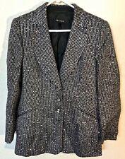 Escada  Black & Silver Sequin Stripe Jacket Size 38 EU  8 US    SS0497