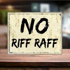 No Riff Raff Metal Sign Man Cave Retro Pub beer garden home bar sign outdoor