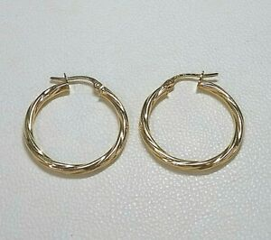 Genuine 9ct Yellow Gold Cable Twist Hoop Earrings Medium Size Hallmarked Gold
